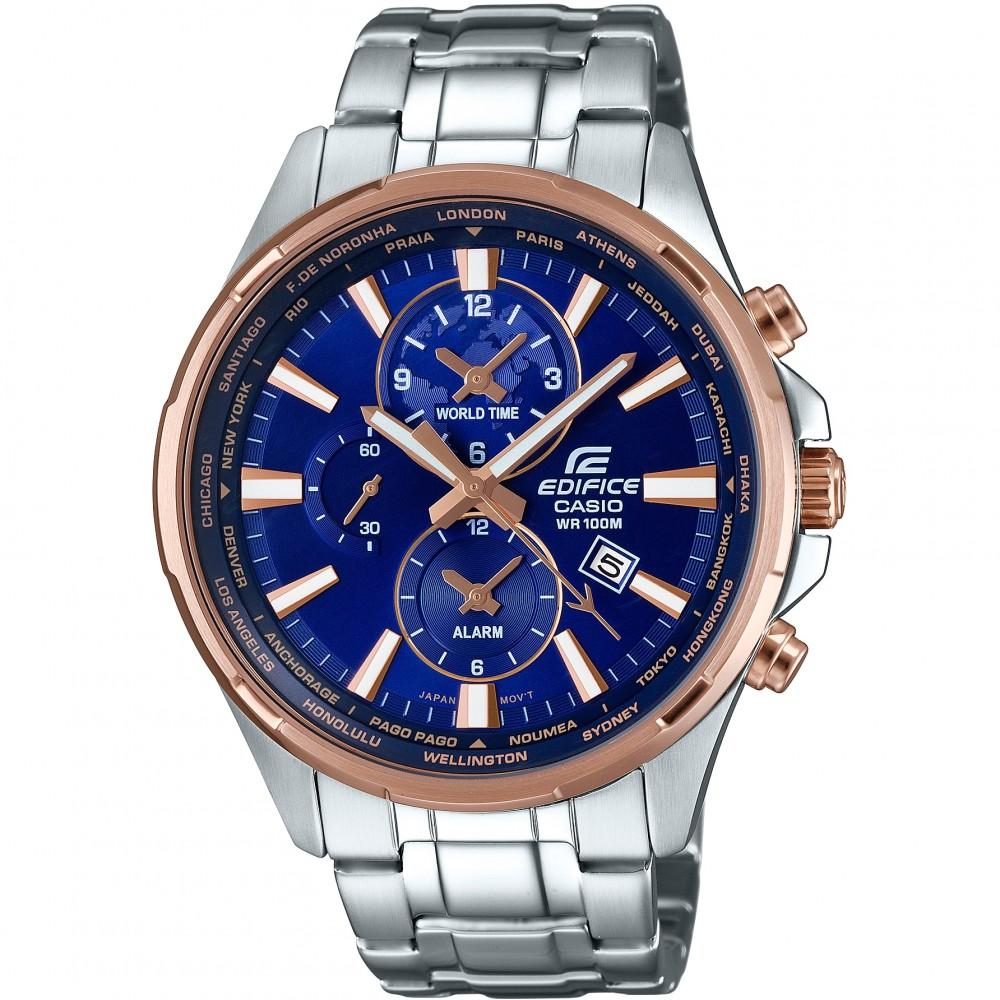 Mens Casio Edifice World Time Alarm Chronograph Watch EFR-304PG-2AVUEF