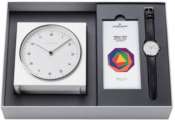 Mens Junghans Max Bill 2017 Edition Clock Gift Set Alarm 363/2715.00