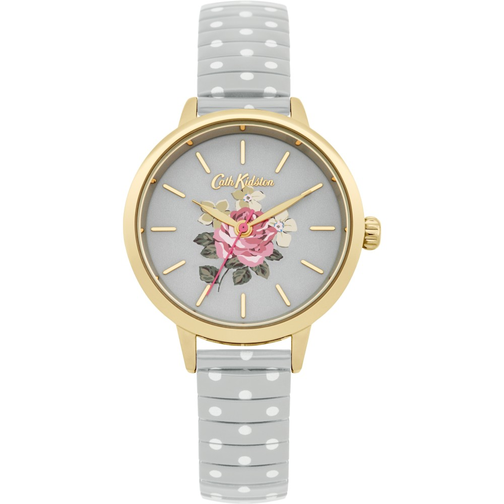 Ladies Cath Kidston Richmond Rose Grey Polka Dot Expander Watch CKL009EG