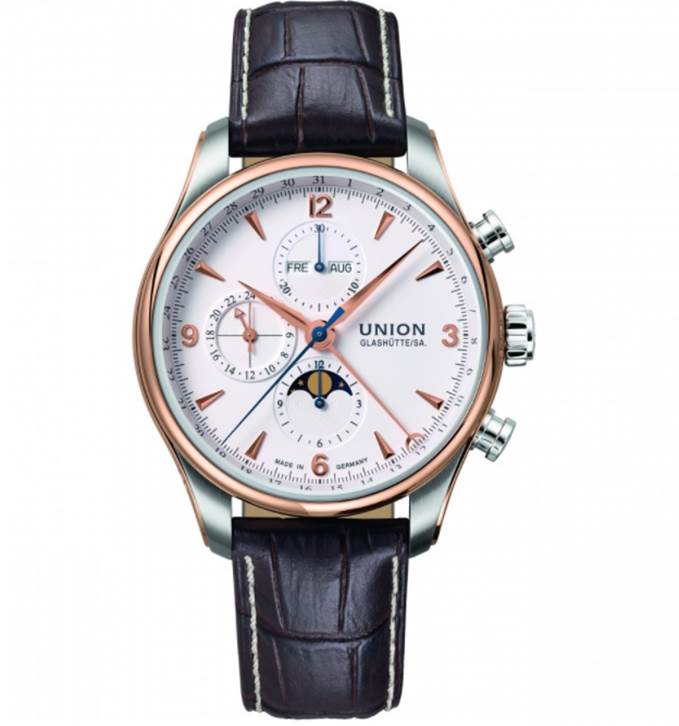 Mens Union Glashuette Belisar Mondphase Automatic Chronograph Watch D0094251601710