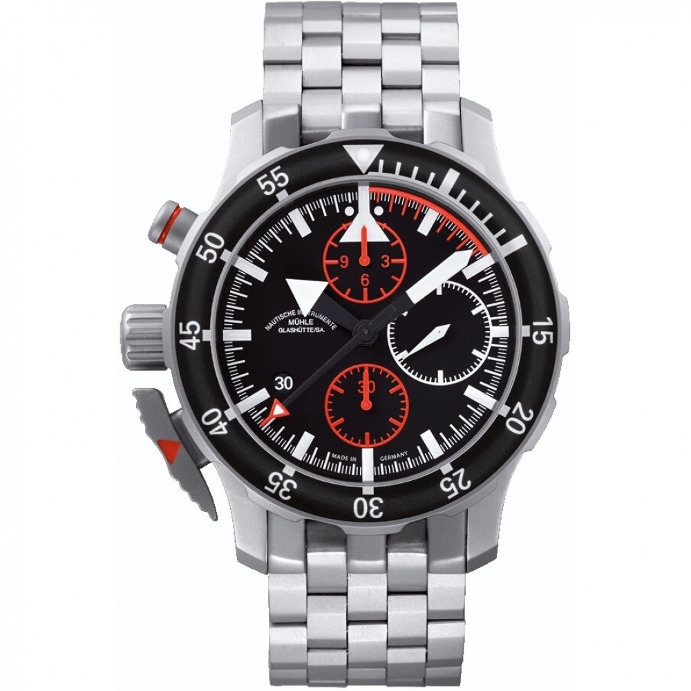Mens Mühle Glashutte S.A.R. Flieger Automatic Chronograph Watch M1-41-33-MB