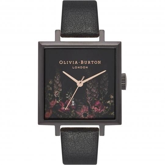 Ladies Olivia Burton After Dark Square Dial IP Black & Rose Floral Watch OB16AD17