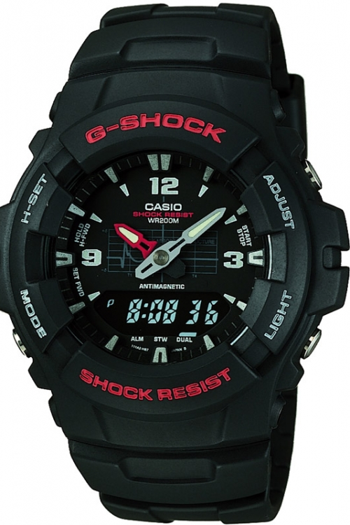 Mens Casio G-Shock Alarm Chronograph Watch G-100-1BVMUR