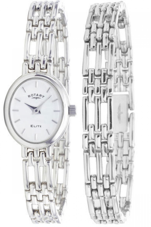 Ladies Rotary Bracelet Set Silver Watch