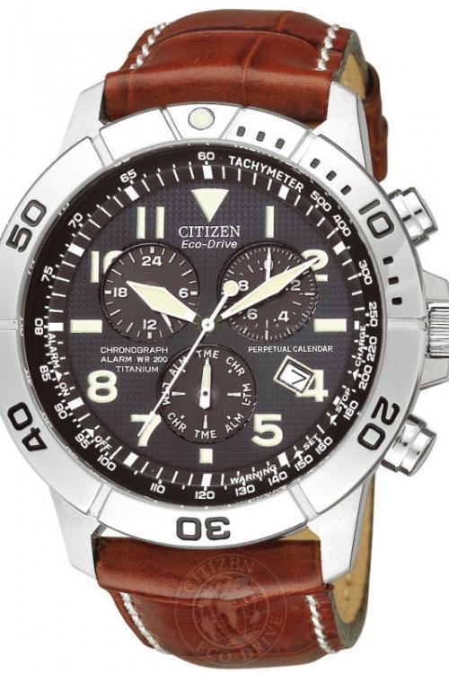 Mens Citizen Perpetual Calendar Titanium Alarm Chronograph Eco-Drive Watch BL5250-02L