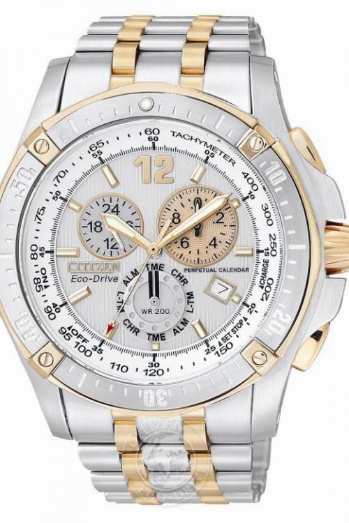 Mens Citizen Perpetual Calendar Alarm Chronograph Eco-Drive Watch BL5376-55A