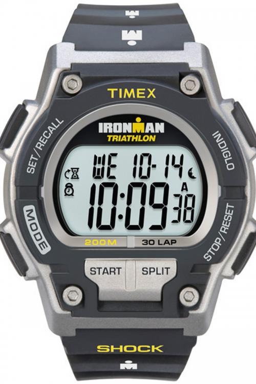 Mens Timex Indiglo Ironman Triathlon Endure Shock 30 lap Alarm Chronograph Watch T5K195