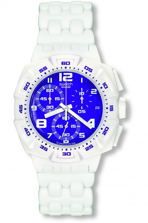 Mens Swatch Purple Purity Chronograph Watch SUIW404