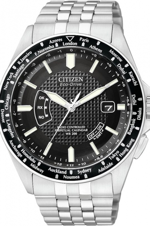 Mens Citizen World Perpetual A-T Radio Controlled Eco-Drive Watch CB0020-50E