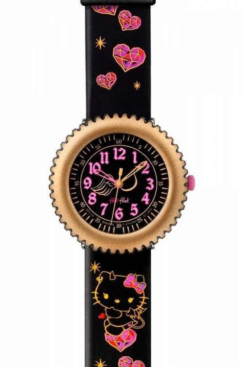 Childrens Flik Flak Hello Kitty Devilish Watch FFL006
