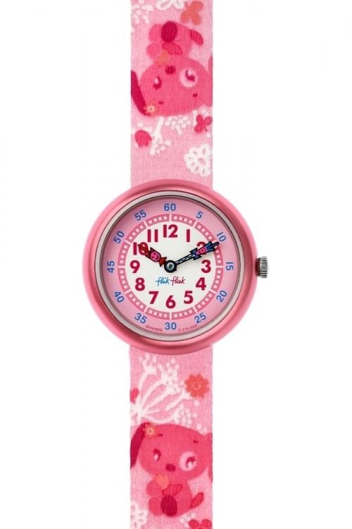 Childrens Flik Flak Pink Bau Bau Watch FBN064