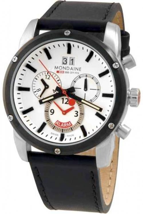 Mens Mondaine Swiss Railways Alarm Chronograph Watch A6923033811SBB