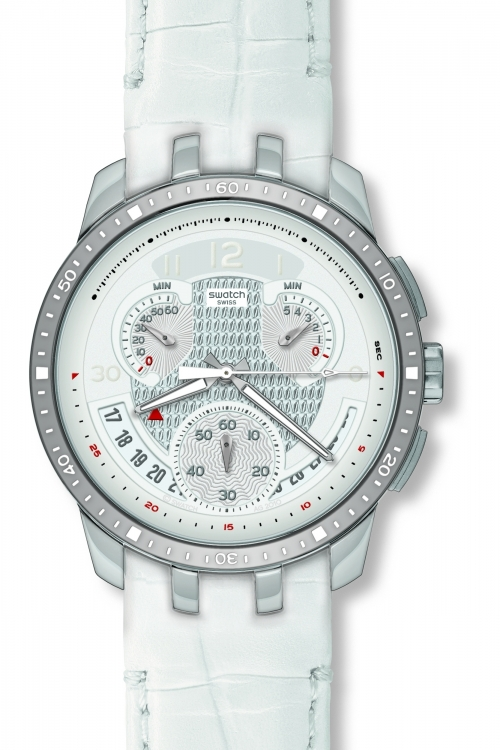 Mens Swatch Cold Hour White Chronograph Watch YRS426