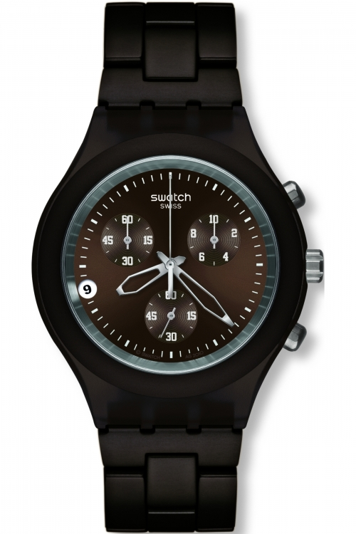 Mens Swatch Smoky Brown Chronograph Watch SVCC4000AG