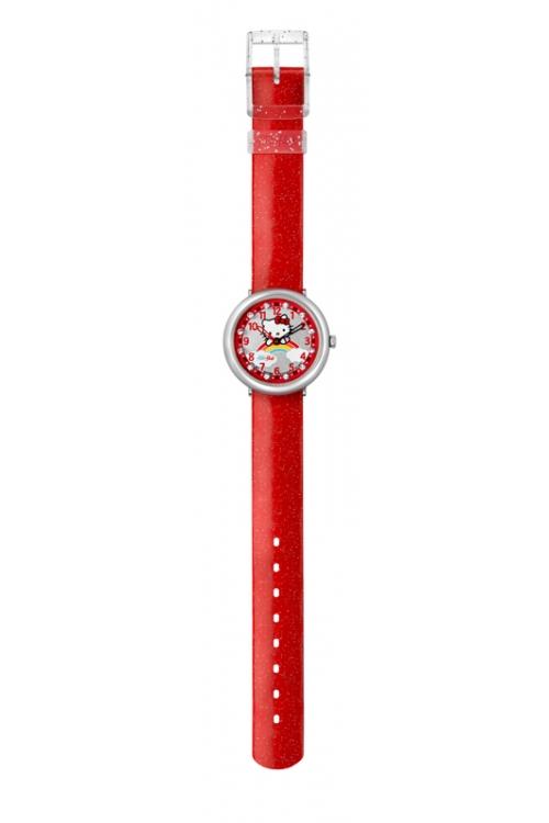 Childrens Flik Flak Hello Kitty Red Rainbow Watch FFL017