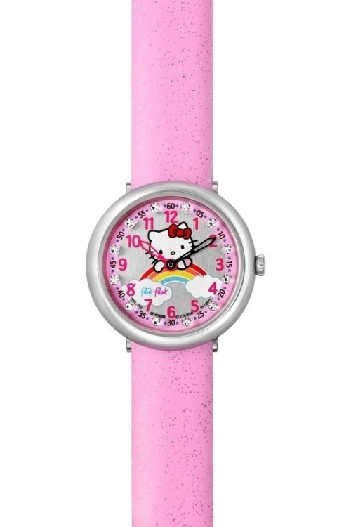 Childrens Flik Flak Hello Kitty Pink Rainbow Watch FFL018