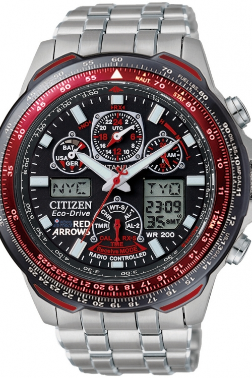 Mens Citizen Skyhawk A-T Red Arrows Titanium Alarm Chronograph Radio Controlled Eco-Drive Watch JY0110-55E