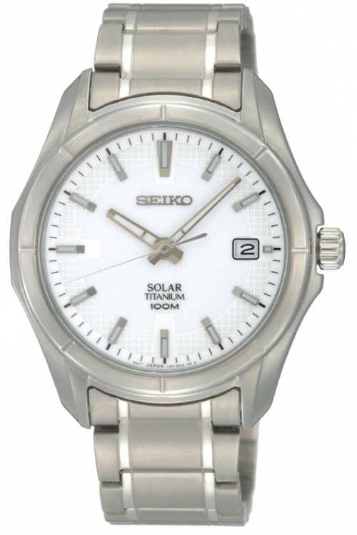 Mens Seiko Titanium Solar Powered Watch SNE139P1