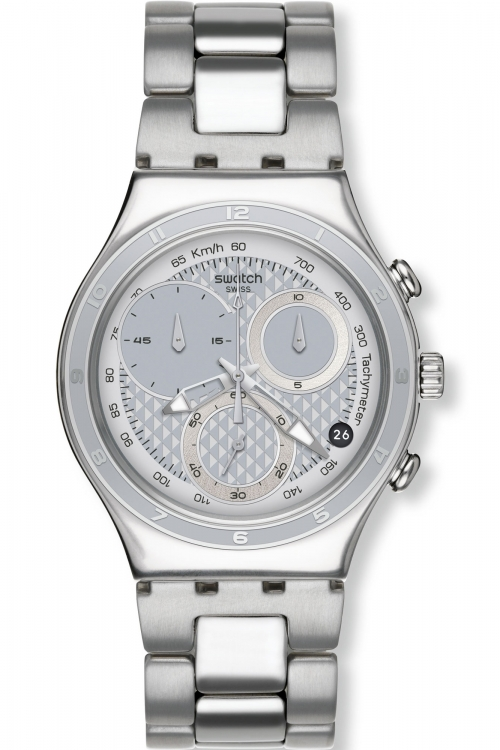 Mens Swatch Oblique End Silver Chronograph Watch YCS549G
