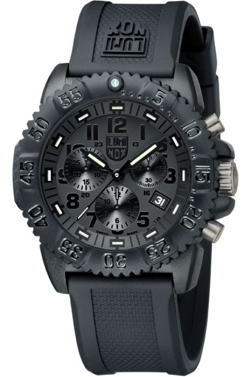 Mens Luminox Navy Seal Colormark 3080 Series Blackout Chronograph Watch A3081.BO.1