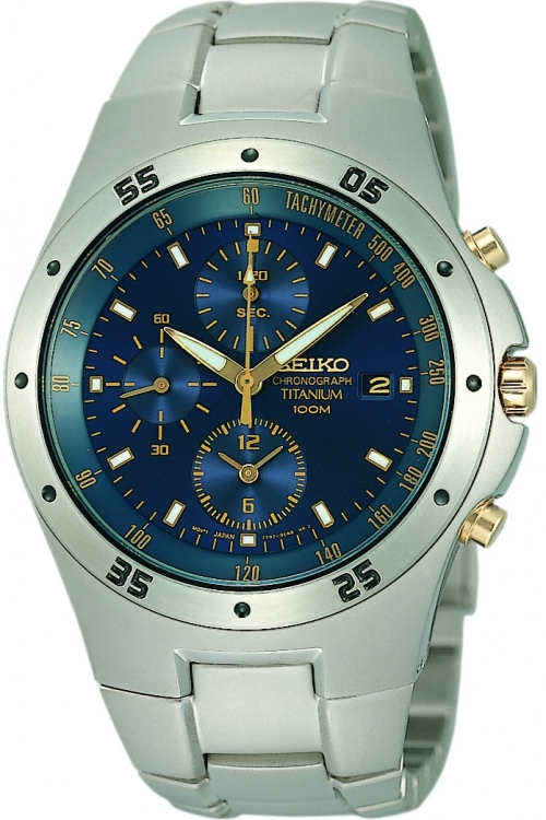 Mens Seiko Titanium Chronograph Watch SND449P1