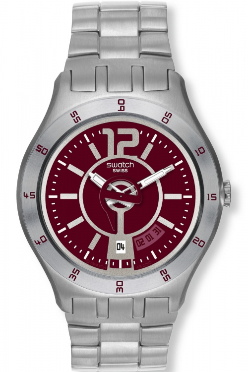 Mens Swatch In A Burgundy Mode Watch YTS405G