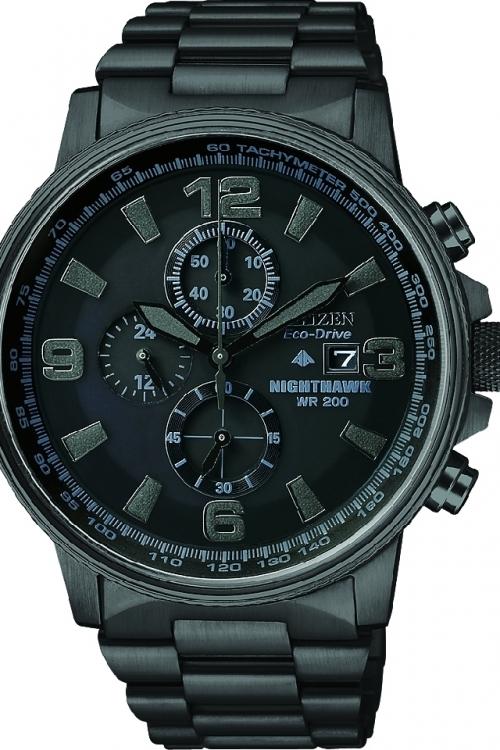 Mens Citizen Nighthawk Chronograph Eco-Drive Watch CA0295-58E