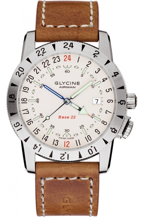 Mens Glycine Airman Base 22 GMT Automatic Watch 3887.11-LB7