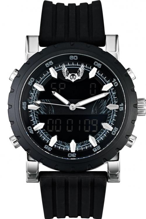 Mens Holler Ric Tic Black Alarm Chronograph Watch HLW2172-4