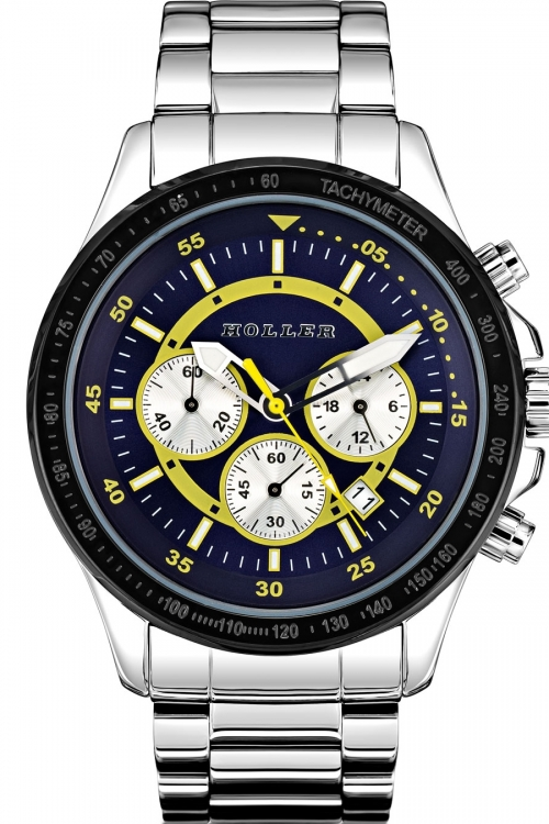 Mens Holler Invictus Blue/Yellow Chronograph Watch HLW2193-5