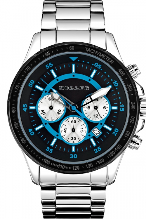 Mens Holler Invictus Black/Blue Chronograph Watch HLW2193-6