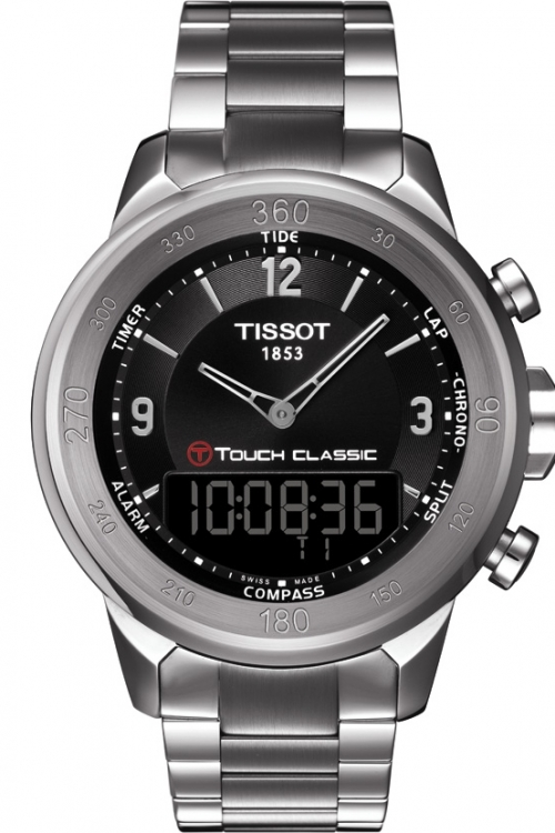 Mens Tissot T-Touch Classic Alarm Chronograph Watch T0834201105700