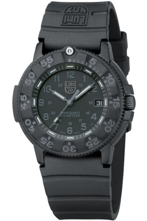 Mens Luminox Original Navy Seal 3000 Series Blackout Watch A3001.BO
