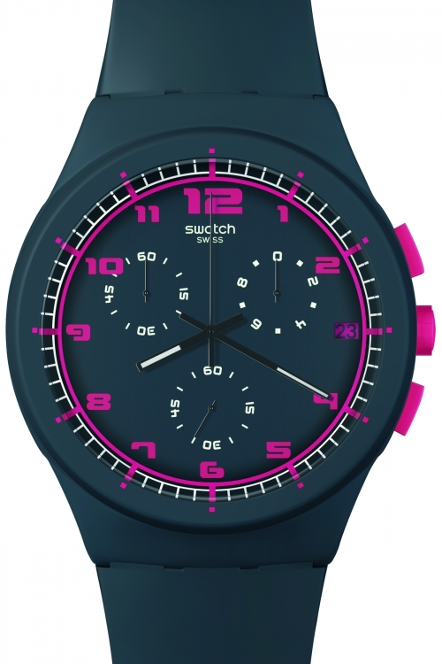 Mens Swatch A Touch Of Fuchsia Chronograph Watch SUSA400