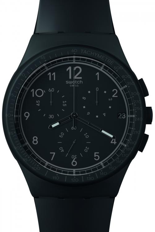Mens Swatch Black Efficiency Chronograph Watch SUSB400