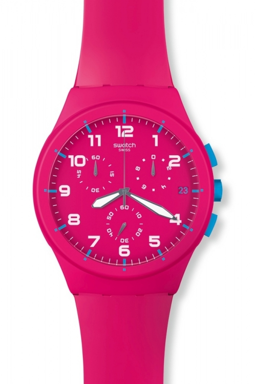 Mens Swatch Pink Frame Chronograph Watch SUSR401