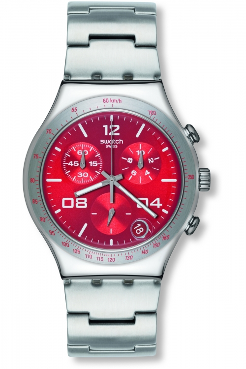 Mens Swatch Blustery Red Chronograph Watch YCS563G