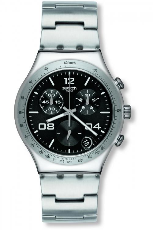 Mens Swatch Blustery Black Chronograph Watch YCS564G