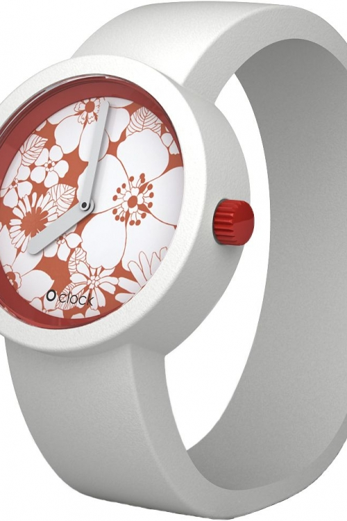 Ladies OClock Flower Power Red Daisy White Strap Small