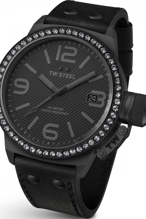 Mens TW Steel Cool Black Crystal 44 45mm Watch TW0912