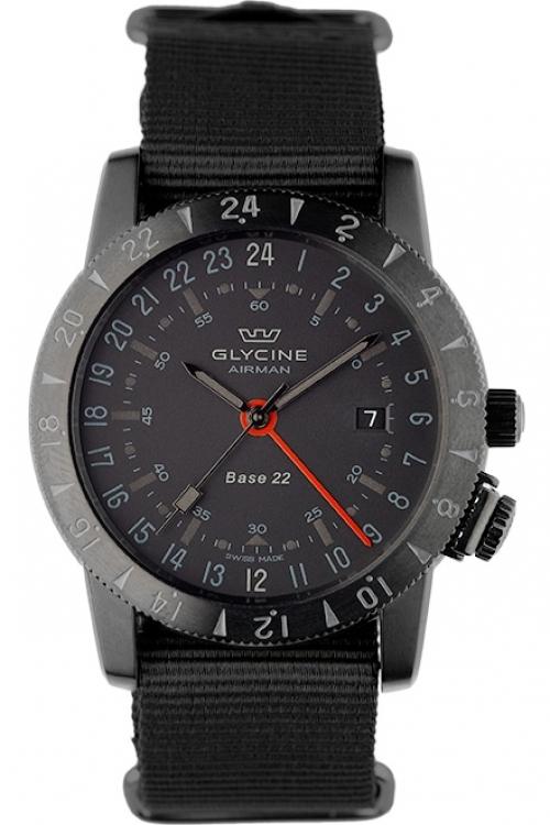 Mens Glycine Airman Base 22 Mystery GMT Automatic Watch 3887.99-TB99