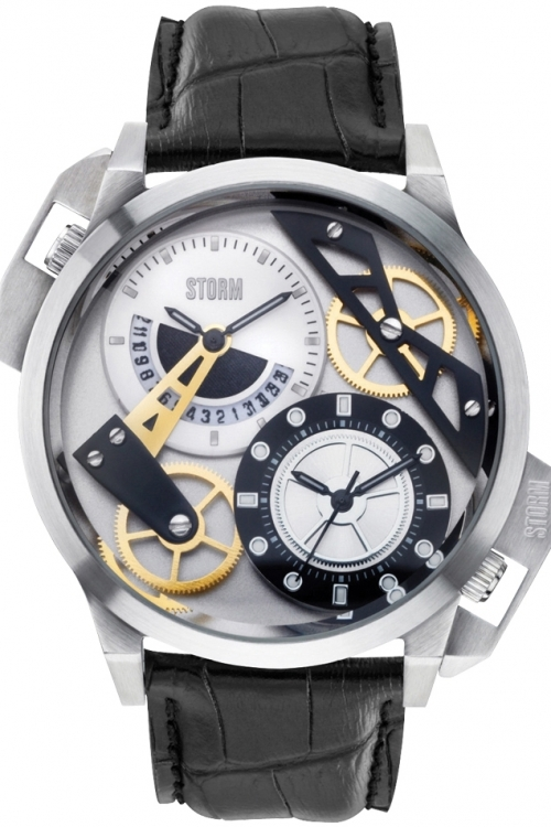 Mens Storm Dualon Leather Watch DUALON-LEATHER-SILVER