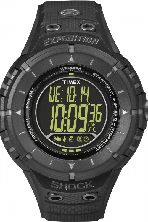 Mens Timex Indiglo Expedition AD Tech Shock Alarm Chronograph Watch T49928