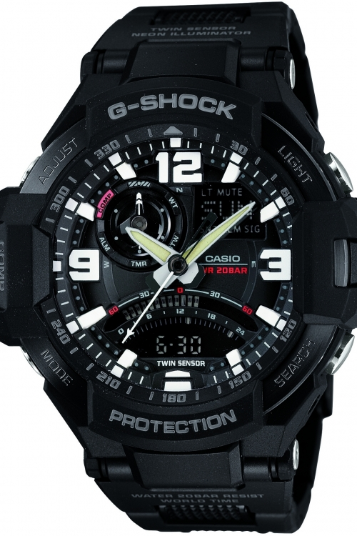Mens Casio G-Shock Premium Sky Cockpit Alarm Chronograph Watch GA-1000FC-1AER