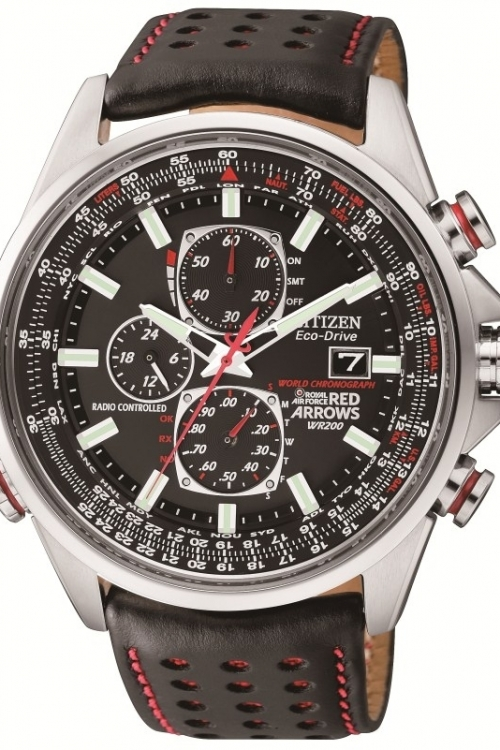 Mens Citizen Red Arrows A-T Chronograph Radio Controlled Eco-Drive Watch AT8060-09E
