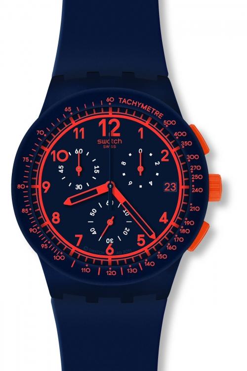 Mens Swatch Rebirth Blue Chronograph Watch SUSN401
