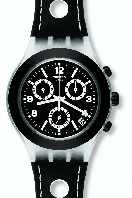 Mens Swatch Black Cup Chronograph Watch SVCK4072