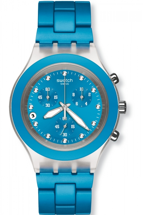 Unisex Swatch Full-Blooded Cyan Chronograph Watch SVCK4053AG