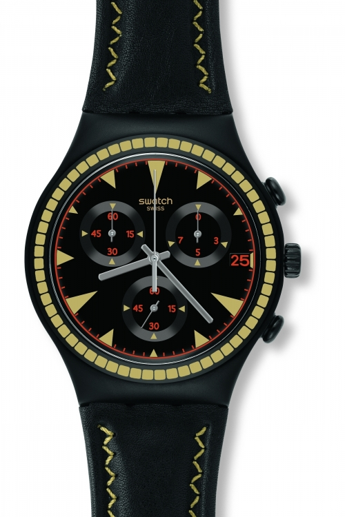 Mens Swatch Black Species Chronograph Watch YCB4024