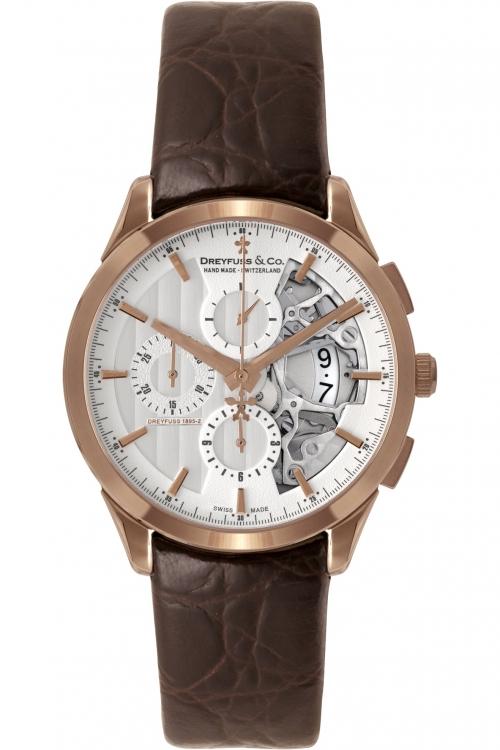 Mens Dreyfuss Co 1925 Half Skeleton Automatic Chronograph Watch DGS00074/06